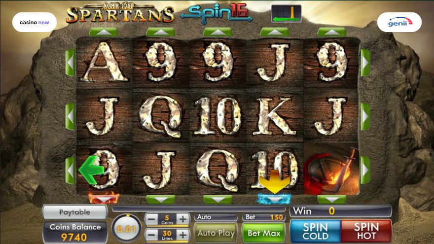 Online slot Age of Spartans Spin 16 Genii screenshot