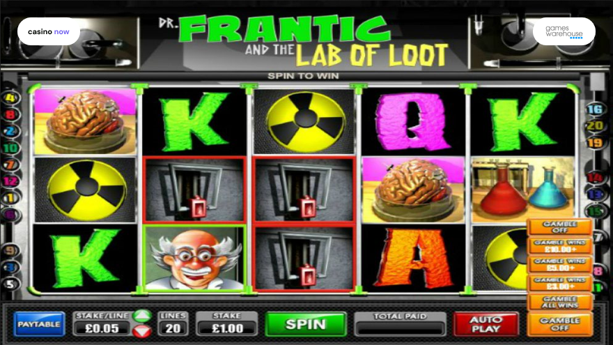 Online slot Dr Frantic And The Lab Of Loot Games Warehouse screenshot