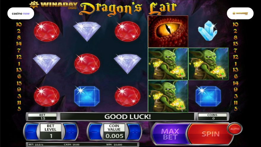 Online slot Dragon's Lair Win a Day Software screenshot