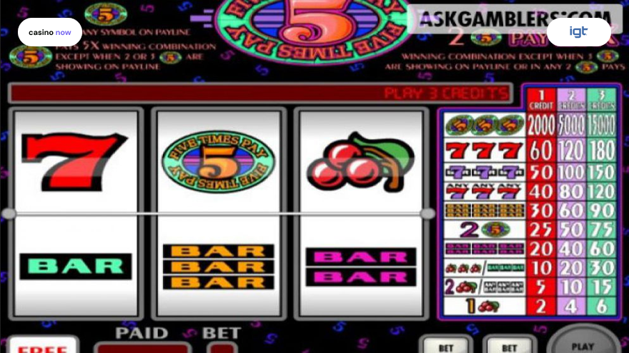 Online slot Five Times Pay IGT (WagerWorks) screenshot
